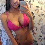 teen brunette in pink bra big tits