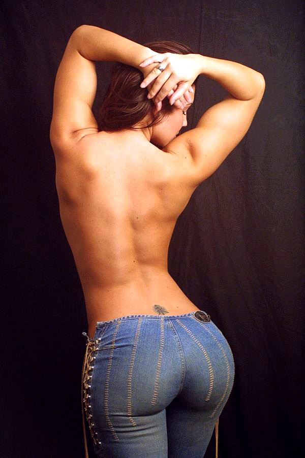 round ass girl in jeans without shirt