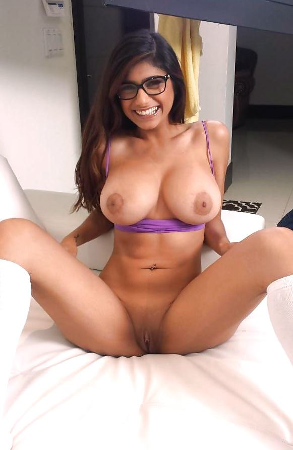 big tits Mia Khalifa in white socks