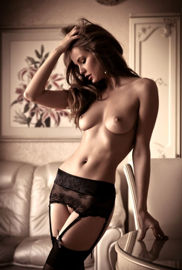 hot model in black lingerie