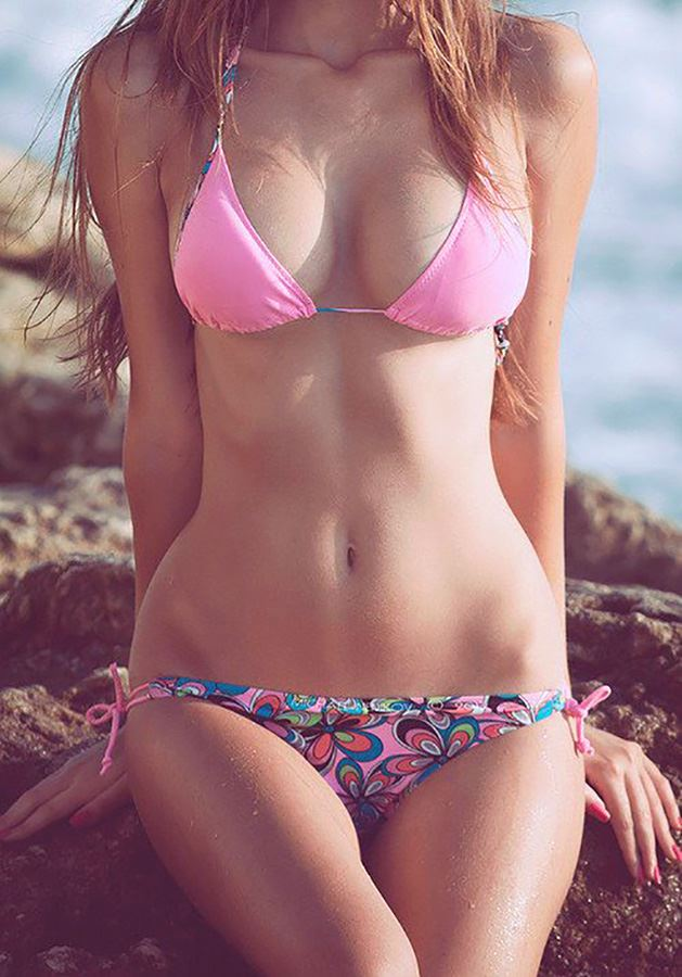 art photo of young girl in bikini