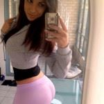 selfie girl in pink yoga pants
