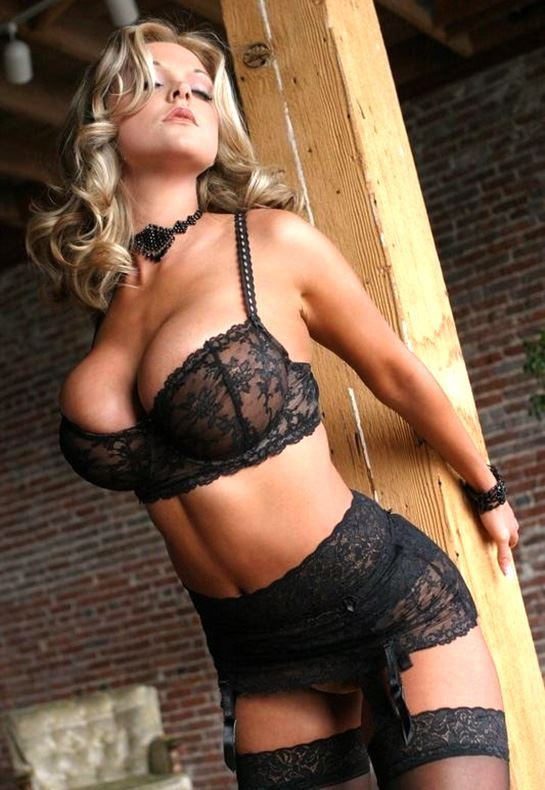 blonde in black lingerie