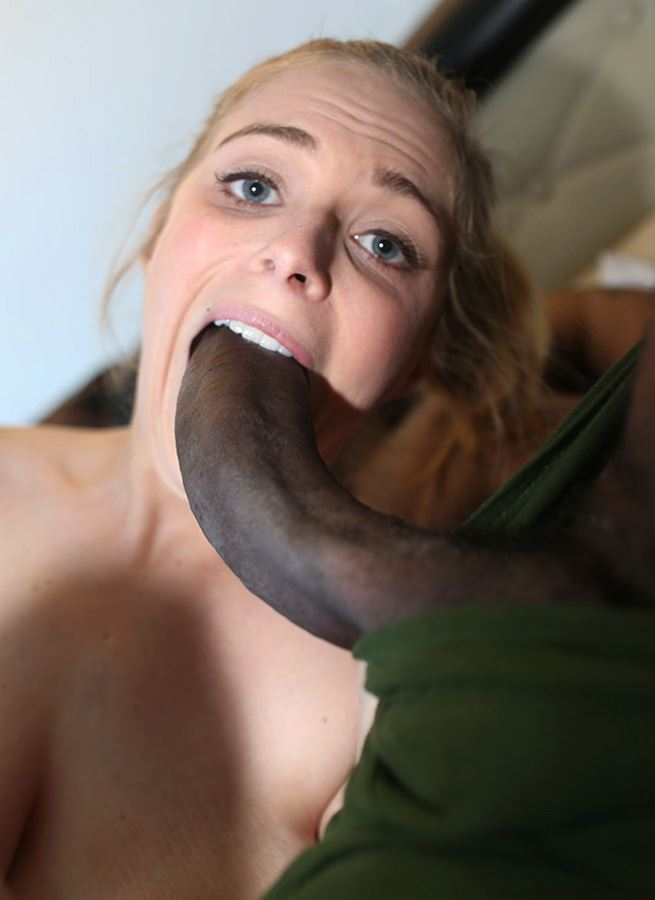 blonde sucks crooked black dick