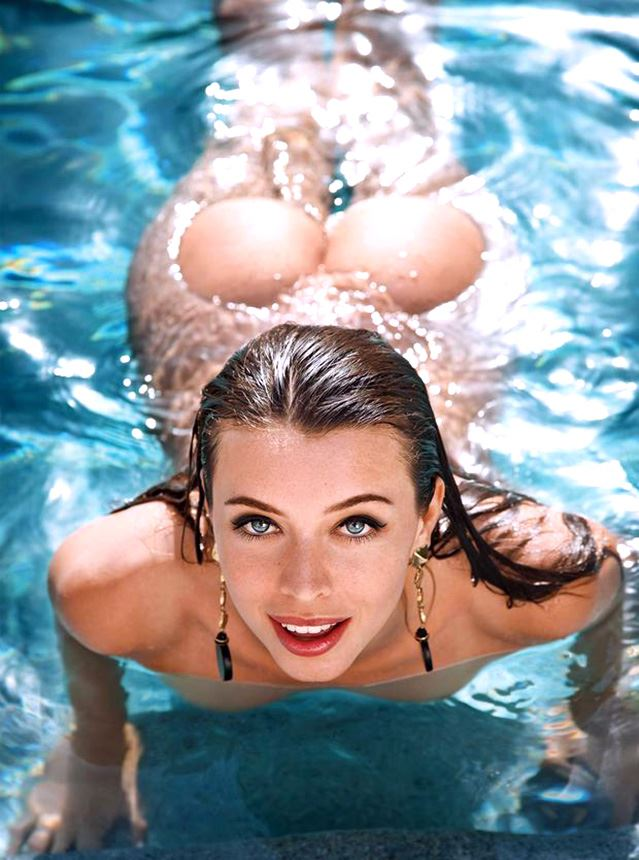 naked brunette in water