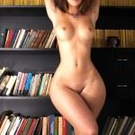 brunette with wide hips in library