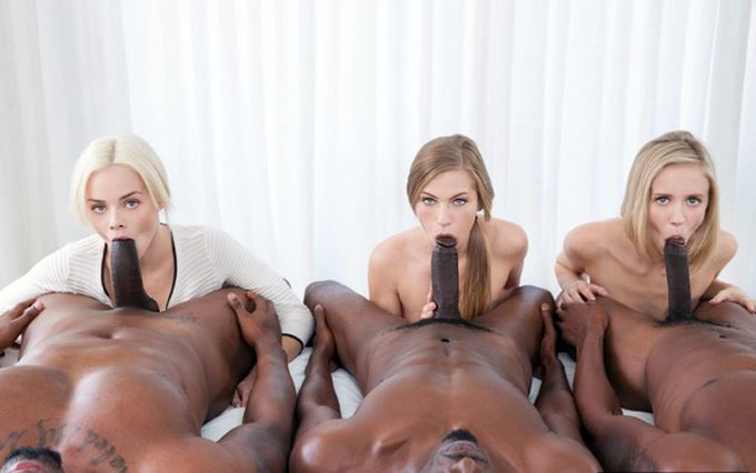 3 white girls sucking 3 black dicks