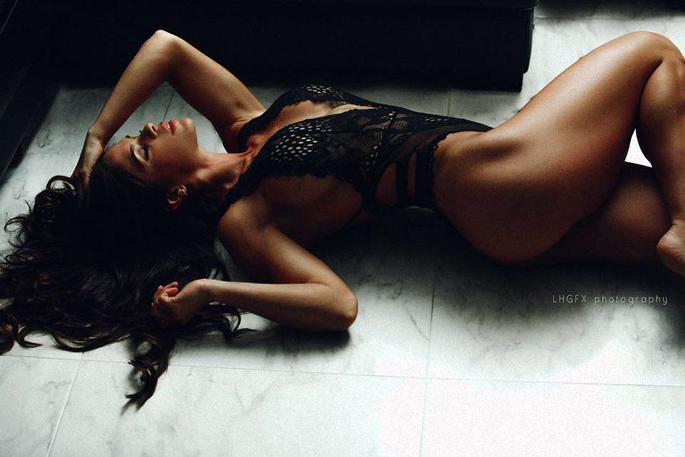 Michelle Lewin black lingerie