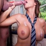 busty brunette with tie sucks big dick