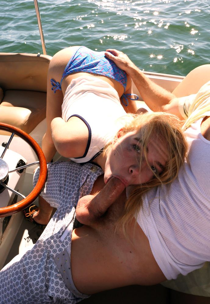 blonde sucks cock on the boat