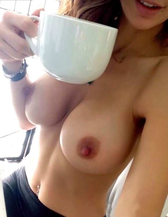 naked busty girl with morning coffee