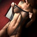 naked fitness girl in fishnet pic