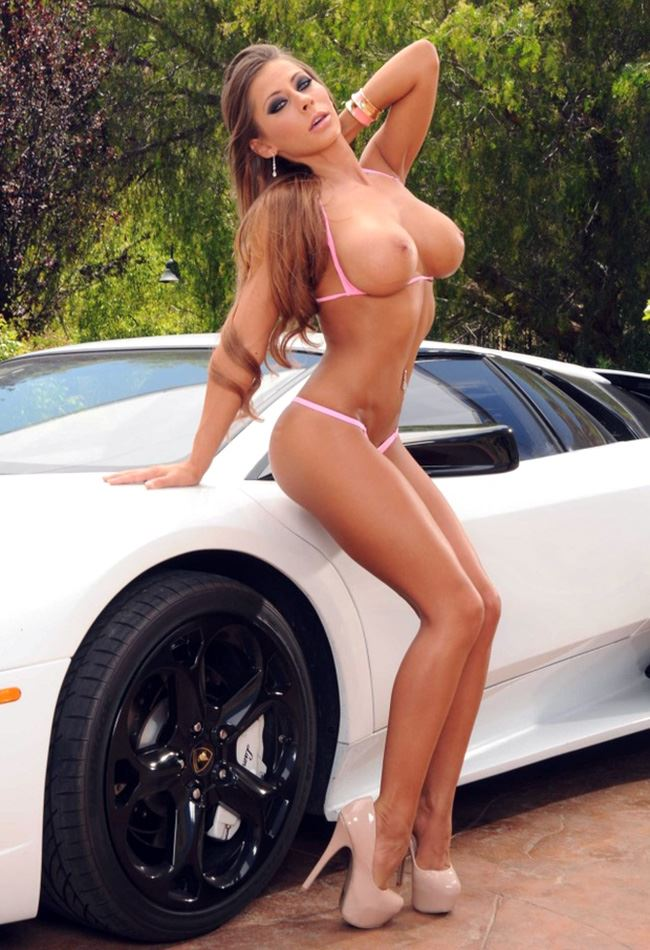 Madison Ivy with sports car