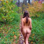 nude girlfriend walking on the path