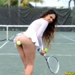 girl tennis ball in ass
