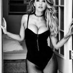 Emily Sears wears black corset