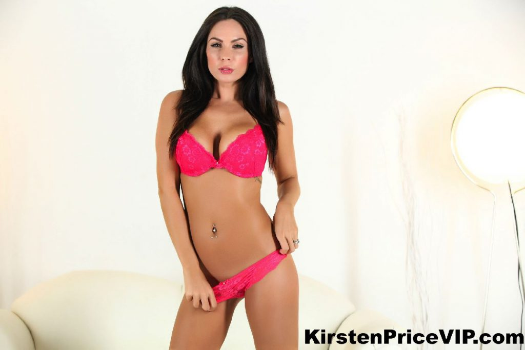 Kirsten Price in pink lingerie