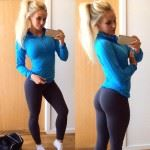fitness girl with nice ass in yoga pants