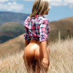 big ass naked girl goes through field