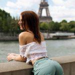 eiffel tower bended girl ass